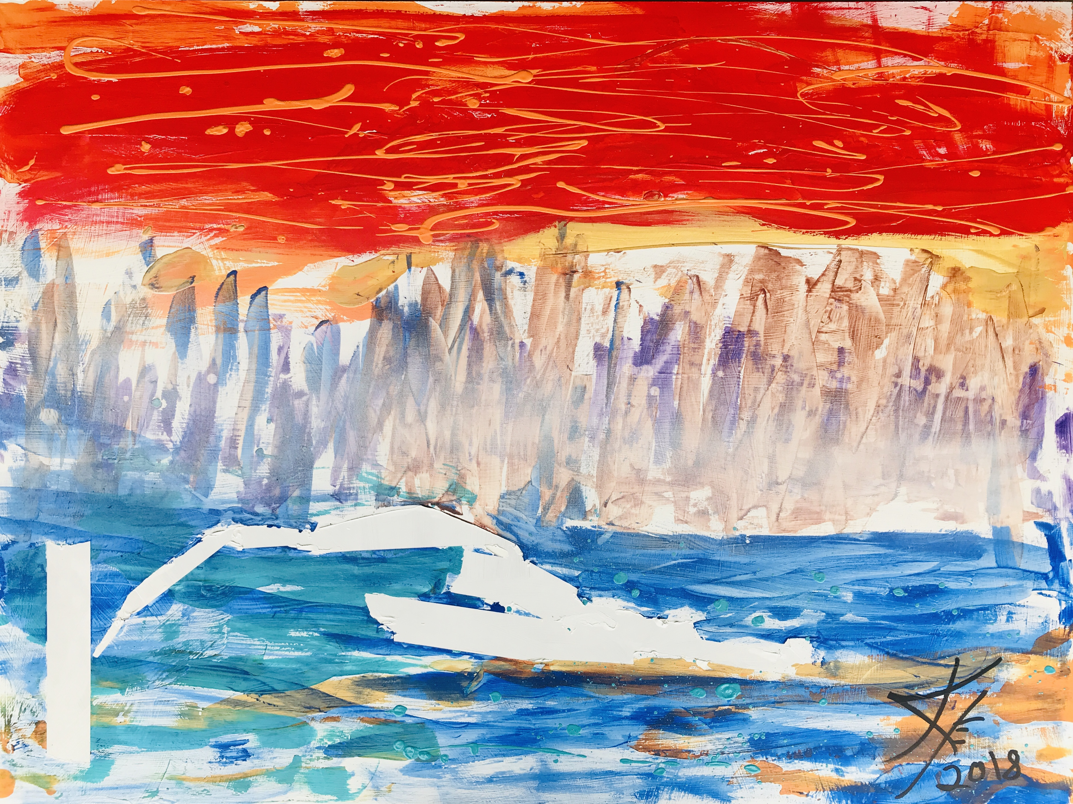 Glacier Bay abstract acrylic painting