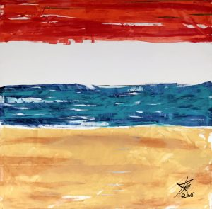 abstract acrylic gilt painting