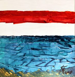 abstract acrylic beach painting