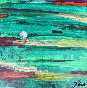 Golf art abstract acrylic painting