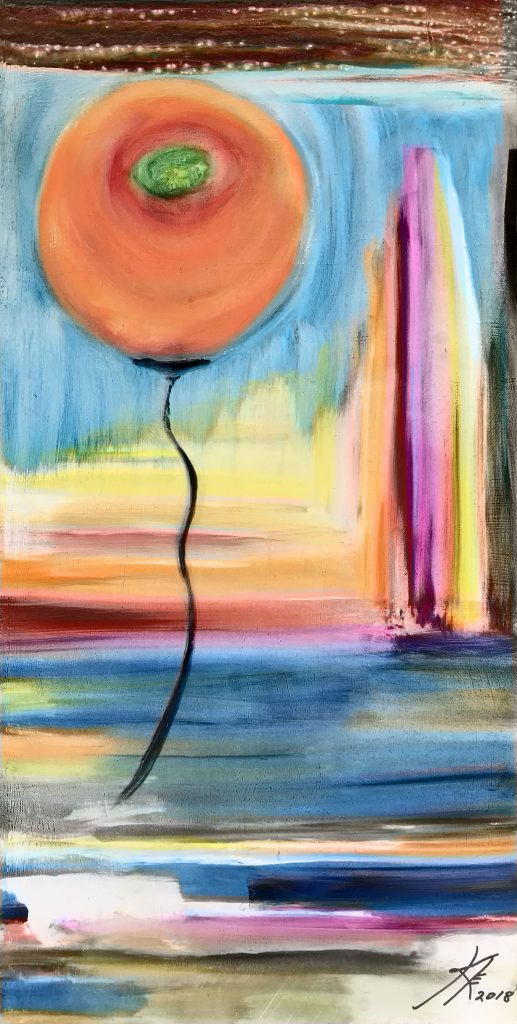 peach abstract mixed media painting