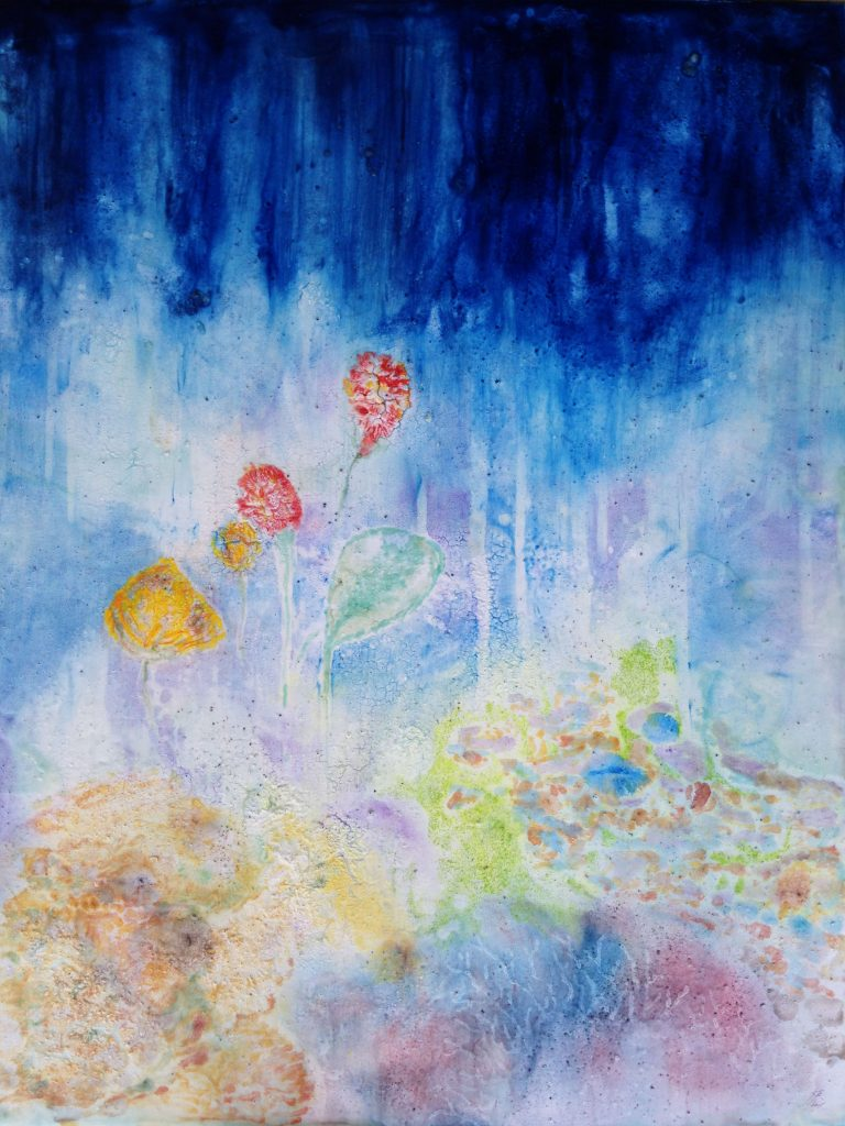 abstract floral encaustic painting