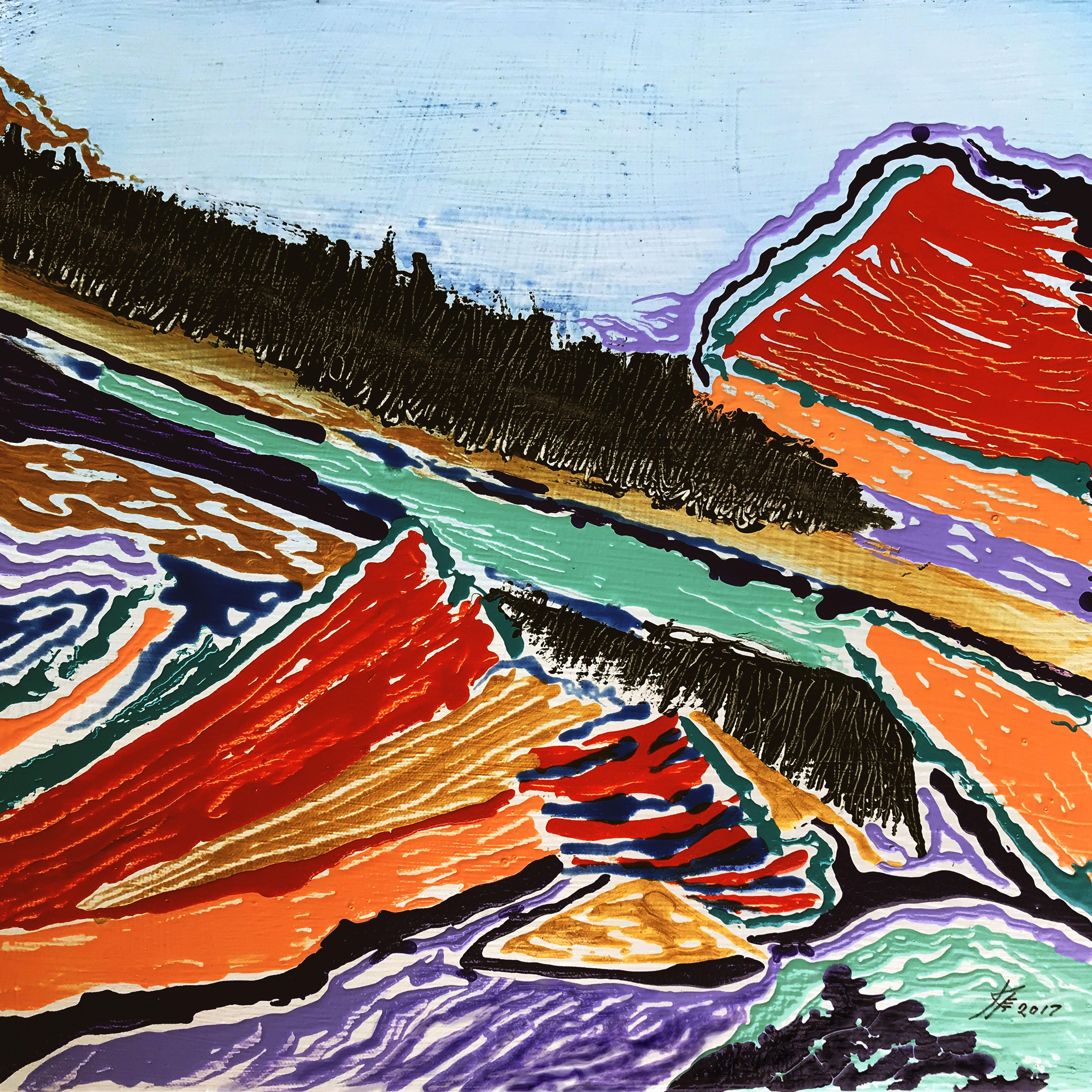 Upheaval, mixed media painting