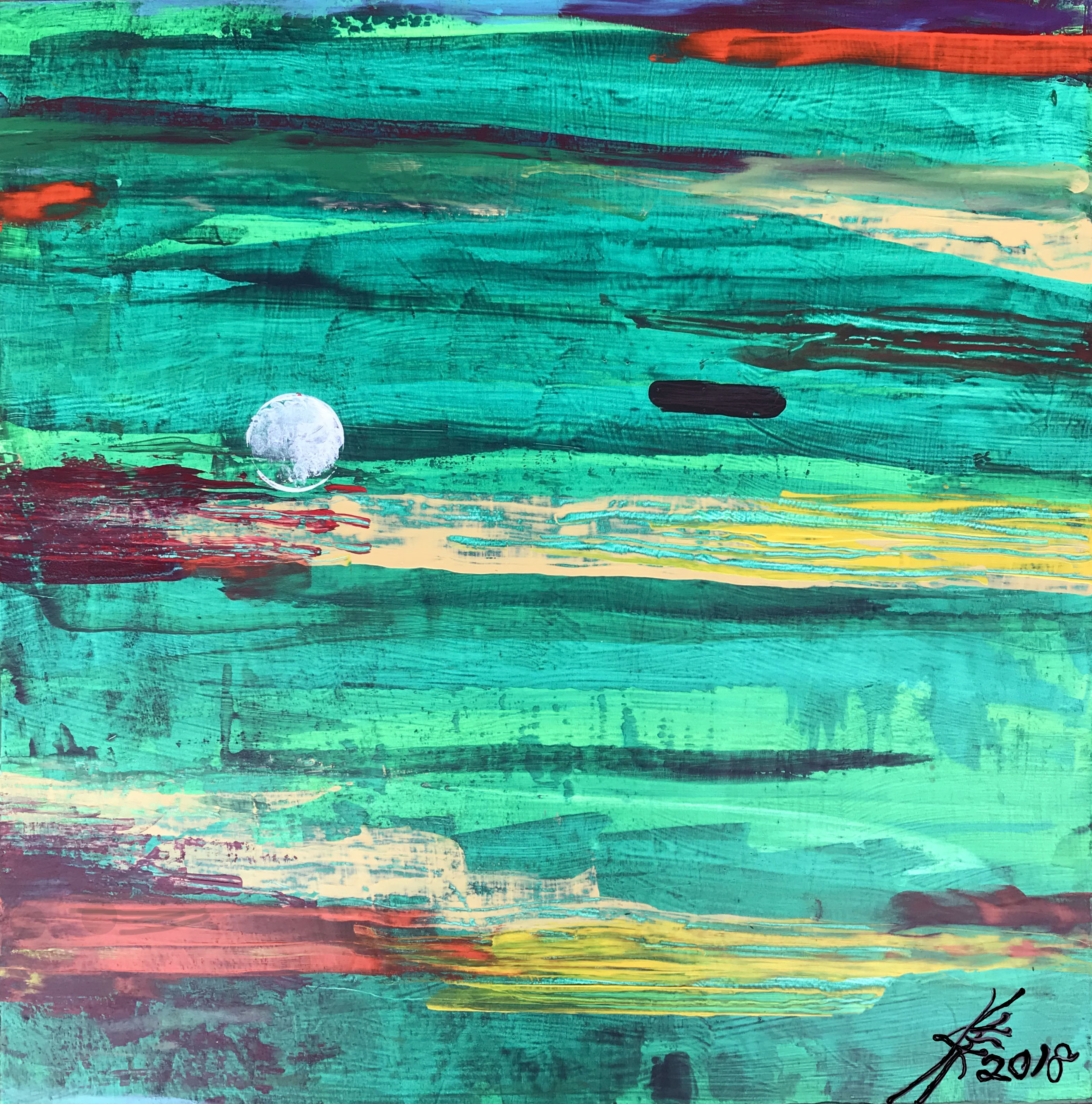 Golf art abstract acrylic painting